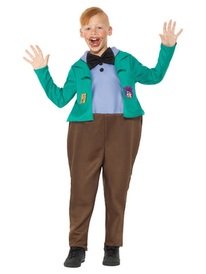 Roald Dahl Children's  Deluxe Augustus Gloop Costume, Green, All in one with Bow Tie, Golden Ticket & Chocolate.