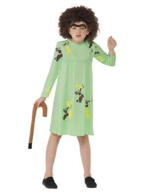 This officially licensed girls Fancy Dress Roald Dahl Mrs Twit Costume is complete with a green dress, wig, unibrow and walking stick