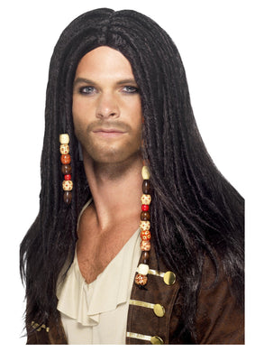 Pirate Wig, Black. If you want the real finishing touch to your Pirate Costume this Wig comes with Headscarf and Beads.