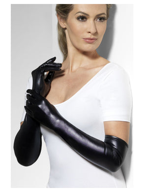 Wet Look Gloves a must have accessory to many a costume, durable black fabric adding a special finishing touch to your look.