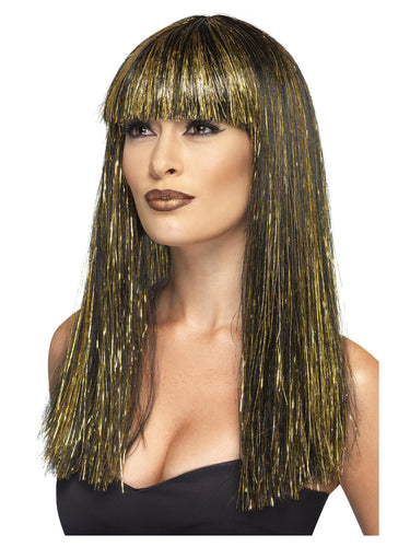 Egyptian Goddess Wig, Black and Gold Tinsel.