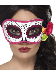 Day of the Dead Eye Mask, White & Pink. One Size
