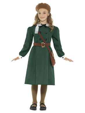 WW2 Evacuee Girl Costume, Green, with Dress, Hat, Bag & Name Tag. Perfect for school