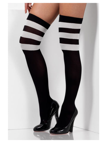 Cheerleader Opaque, Hold Ups, Black with White Stripes.
