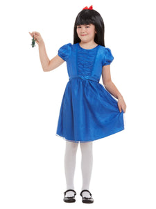Roald Dahl Matilda Deluxe Costume, Blue Dress, Wig and Newt.