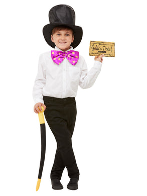 Roald Dahl Fancy Dress Willy Wonka Kit, Black with Hat, Bow Tie, Cane & Golden Ticket.