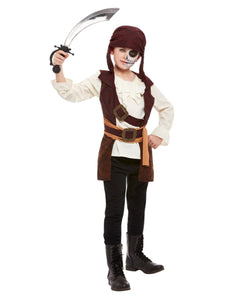 Boys Dark Spirit Pirate Costume, Brown with Tunic and Hat