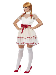 Porcelain doll Costume, Cream dress with Red ribbon belt is a pretty but creepy version of a doll to scare at any time of year, not just Halloween!