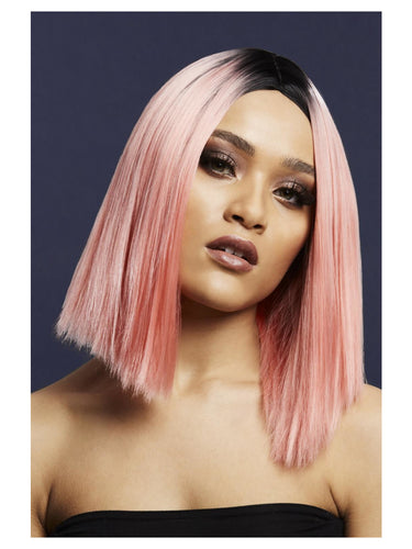 Fever Kylie Wig, Coral Pink, Two Toned Blend, Coral Pink, Inverted Long Bob, Centre Parting, 37cm/15