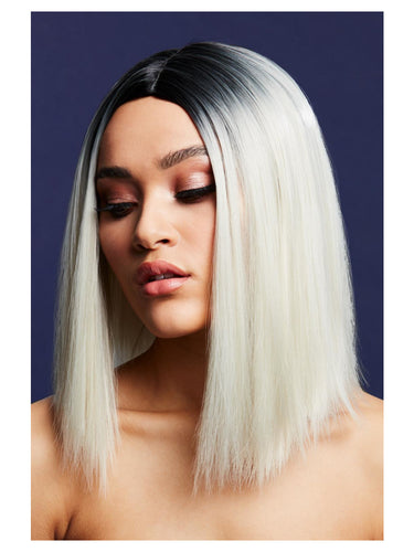 Fever Kylie Wig, Ice Blonde, Two Toned Blend, Inverted, Long Straight Bob, Centre Parting, 37cm/ 15
