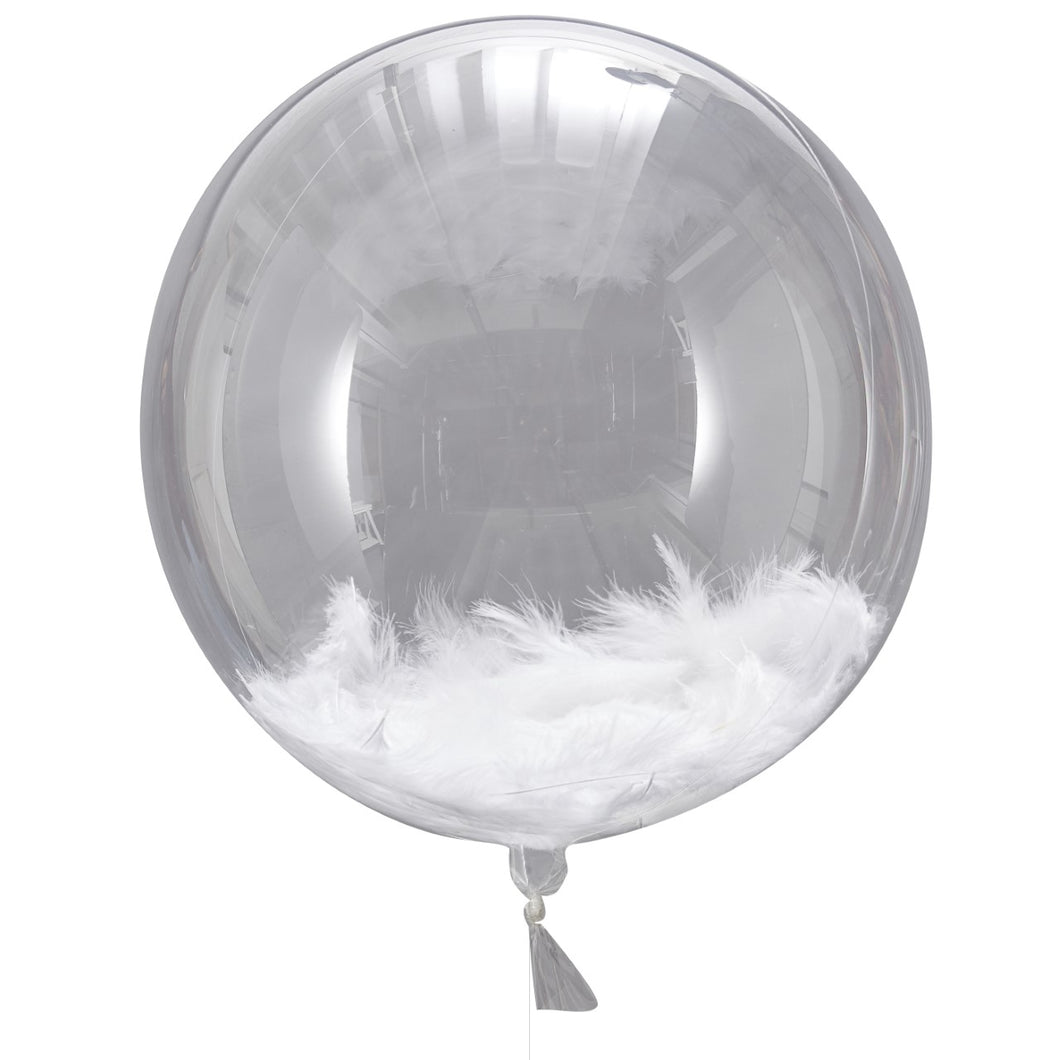 FEATHER FILLED ORB BALLOONS Stunning and elegant orb with white feathers, unique balloon for any special celebration