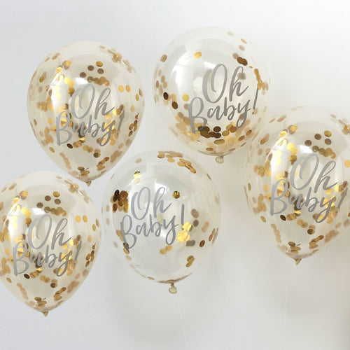 GOLD CONFETTI OH BABY SHOWER BALLOONS