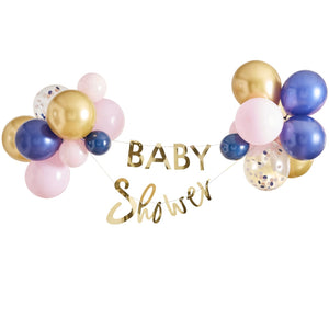 GOLD BABY SHOWER BANNER AND BALLOON
