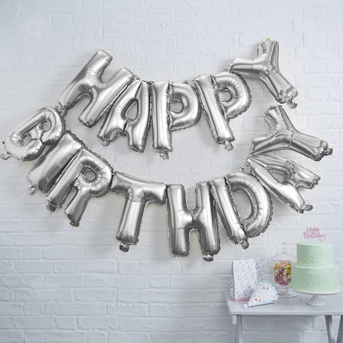"SILVER HAPPY BIRTHDAY FOIL BALLOON BUNTING   Add glam with this silver Happy Birthday Balloon bunting Pack includes 13"" balloons Fill with air no helium r"
