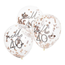 Load image into Gallery viewer, Happy Birthday - Hello 40 - Confetti Balloons x 5