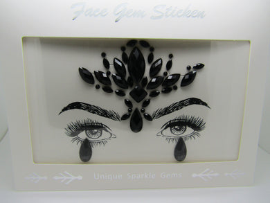 beautiful Face Gem in Black.  These are a perfect way to frame and show off your beautiful eyes and face. Very popular for festivals and any party.
