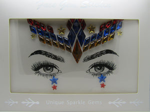 beautiful Face Gem design in red, blue, gold with diamonds and stars these are perfect to frame and show off your beautiful eyes and face