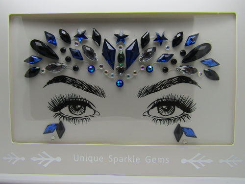 beautiful Face Gem design in dark blue, blue and silver these are perfect to frame and show off your beautiful eyes and face very popular for festivals and any party.