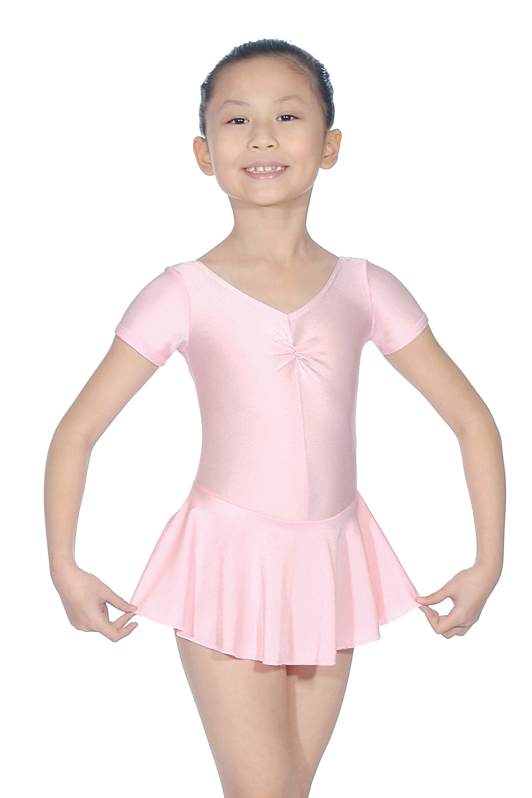 Roch Valley Capped sleeve pink leotard with attached skirt