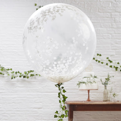 "GIANT WHITE CONFETTI BALLOONS  Each pack contains 3 x giant balloons measuring 36"" when inflated"