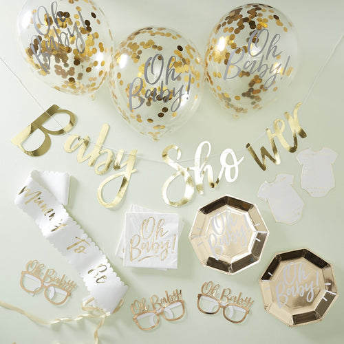 GOLD BABY SHOWER PARTY IN A BOX