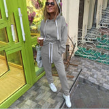 Woman 2019 New Fashion Tracksuit Set Sports Hoodies Suit Tops and Long Pants Sweatshirt Suits Sportwear