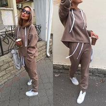 Load image into Gallery viewer, Woman 2019 New Fashion Tracksuit Set Sports Hoodies Suit Tops and Long Pants Sweatshirt Suits Sportwear