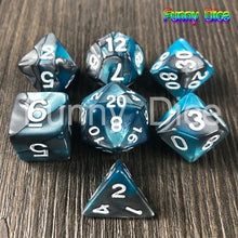 Load image into Gallery viewer, Magic Green Grey 7pcs DND Dice Set