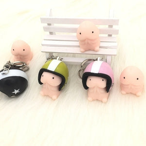 TPR Mochi Squishy Squeeze Healing Toy Soft Fun Joke Helmet Keychain Pendant Strap Key Ring Funny Kids Toys
