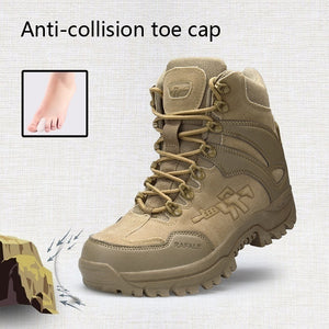Men's Outdoor Military Tactical Boots High Top Waterproof Leather Hiking Boots Non-Slip Wear-Resistant Ankle Boots Male Combat Boots
