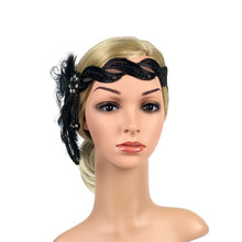 Load image into Gallery viewer, 1920s Headpiece Feather Flapper Headband Great Gatsby Headdress Vintage
