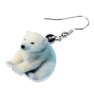 Acrylic Sitting Polar Bear Earrings Drop Dangle New Fashion Novelty Arctic Animal Jewelry For Women Girls Teens Charms Gift