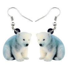 Load image into Gallery viewer, Acrylic Sitting Polar Bear Earrings Drop Dangle New Fashion Novelty Arctic Animal Jewelry For Women Girls Teens Charms Gift