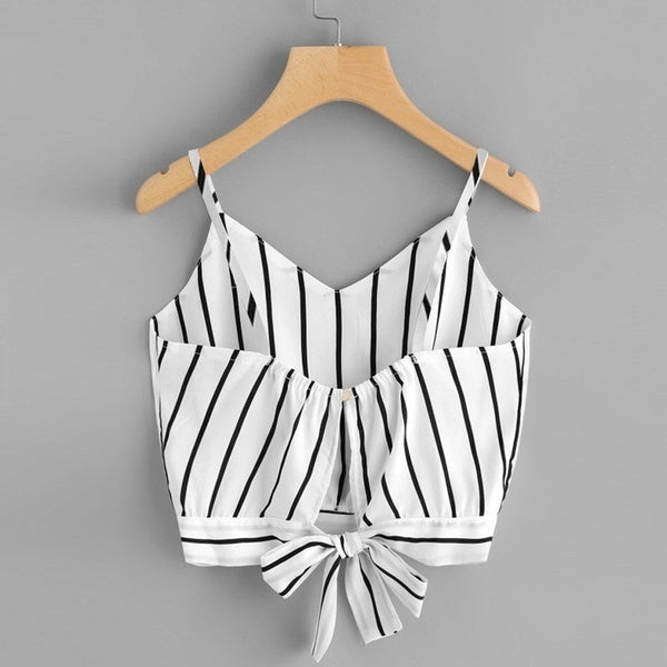 Honey Together Women's Self Tie Back V Neck Striped Crop Cami Top Camisole Blouse Super Present