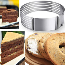 Load image into Gallery viewer, Layer Cake Slicer Adjustable Retractable Stainless Steel Mousse Mold Round Baking Kit Mould Cut Tools