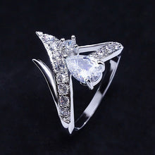 Load image into Gallery viewer, Exquiste Rings 925 Silver Pear-Shaped White / Sapphire / Ruby Zircon Ring Wedding Engagement Ring Fashion Diamond Rings for Women Cocktail Ring (US Size:5,6,7,8,9,10)