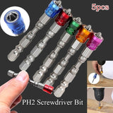 5Pcs 65mm Alloy PH2 Phillips Magnetic Screwdriver Bits Hex Shank Drywall Screwdriver