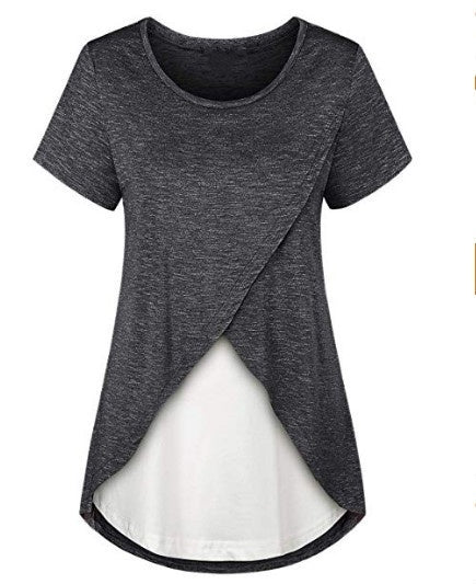 Pregnant Women Solid Color Layered Nursing Top Summer Maternity T-shirts Breastfeeding Tunic Top