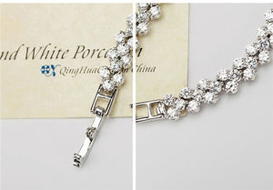 3 Color Women Fashion Roman Style Woman 925 Sterling Silver Crystal Diamond Bracelets Gifts