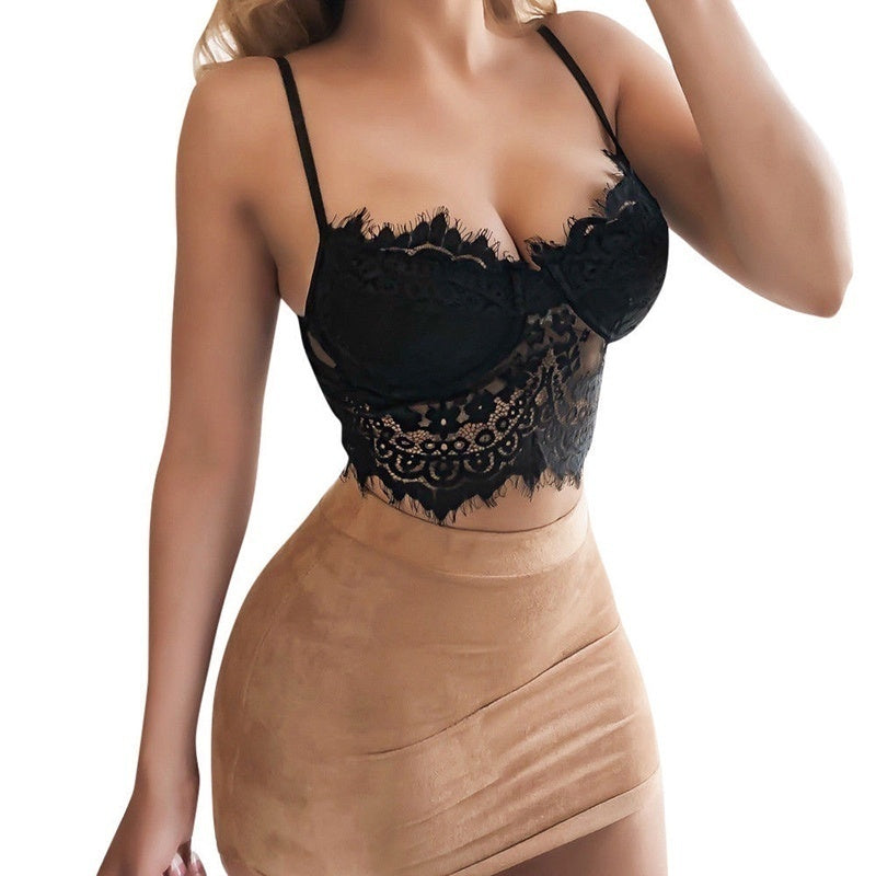 Women Fashion Floral Lace Bralette Ultrathin Sheer Brassiere Underwear Vest Spaghetti Strap Sleeveless Deep V Crop Top