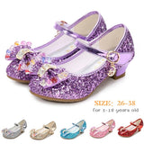3-18 Years Old Kids Girls Princess Sandals Cute High Heels Dress Shoes Round-toe Crystal Bow-Knot Mary Janes Shoes For Girls Leather Bowtie