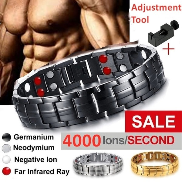 4000 Gauss Titanium Magnetic Therapy Bracelet To Help Relieve Wrist and Hand Pain Inflammation From PC Use, Golf and Tennis for Men Gifts