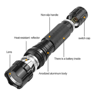 Hunting Tactical Flashlight Ultra Bright T6 LED 1000 Lumen 5 Modes High Powered Hunting Lamp Torch and 45 Degree Picatinny Mount Rail Offset Ring Side Mount (No Battery Included)