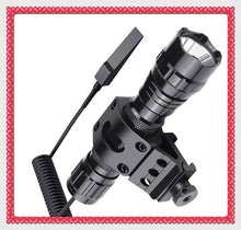 Load image into Gallery viewer, Hunting Tactical Flashlight Ultra Bright T6 LED 1000 Lumen 5 Modes High Powered Hunting Lamp Torch and 45 Degree Picatinny Mount Rail Offset Ring Side Mount (No Battery Included)