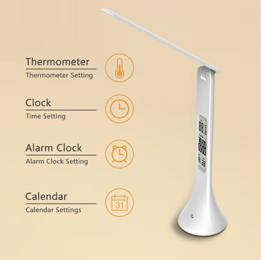 LED Desk Lamp Foldable Dimmable Touch Table Lamp with Calendar Temperature Alarm Clock table Light night lights