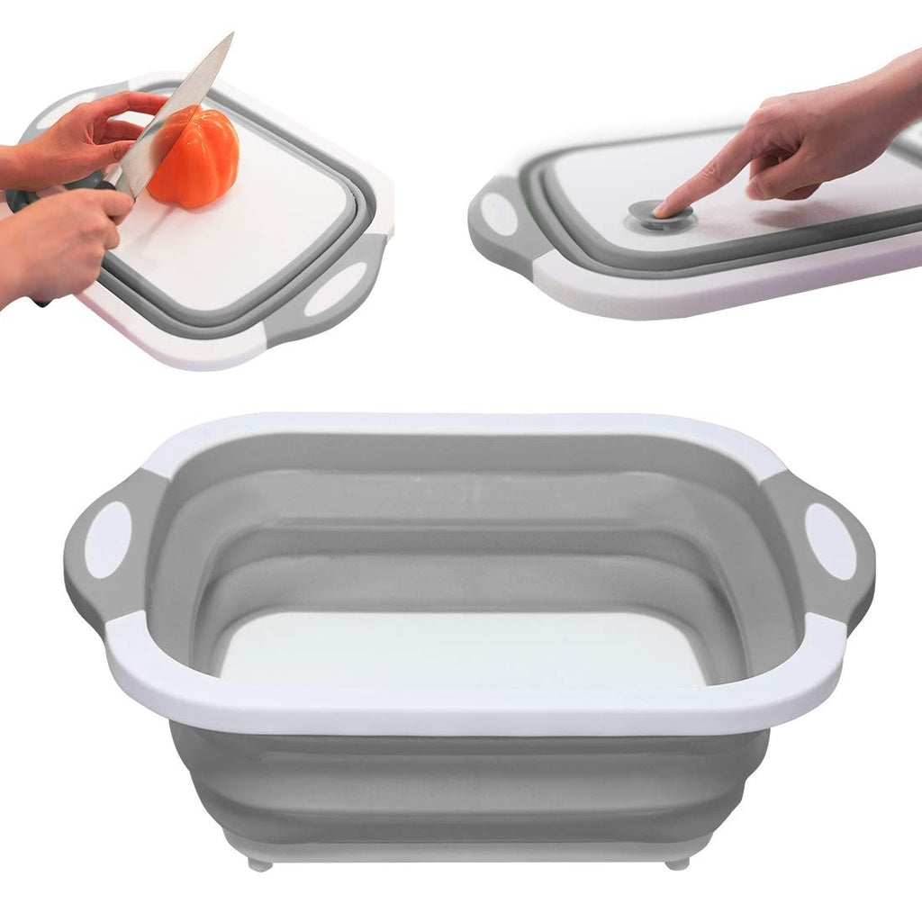 Kitchen Collapsible Dish Tub | Folding Cutting Board | Washing Colander | Drying Draining Rack | Vegetable Basket | Wash Strainer