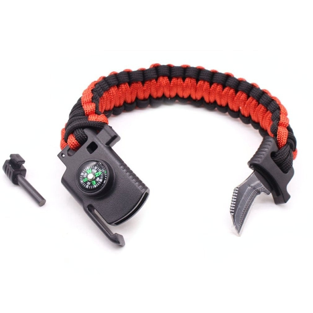 Outdoor Camping Rescue Paracord Bracelet Men Survival Parachute Cord Multifunctional Braided Rope Bracelet Knife Compass RE