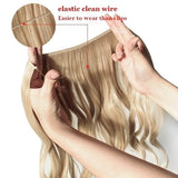 22'' Invisible Wire Natural Soft Curly/Straight Hair Synthetic Hairpieces Adjustable Transparent Wire