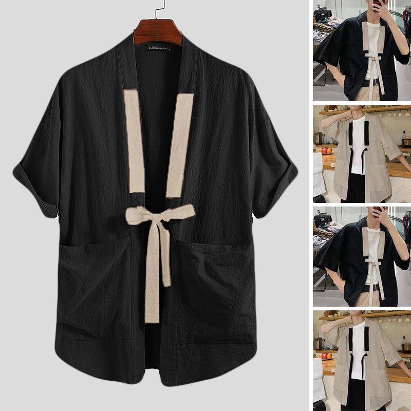 Japanese Retro Thin Section Short Sleeve Cardigan Kimonos Men's Loose Jacket