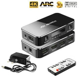HDMI Splitter 4 Port HDMI Splitter cable Switch Switcher 4K 2.0 Audio Extractor ARC & IR Control 4 Input 1 Output Adapter